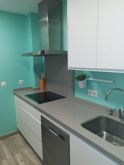 Cocina de color turquesa